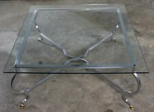 Vintage Hollywood Regency Square Glass Top Cocktail Table w/Aluminum Base & Bras