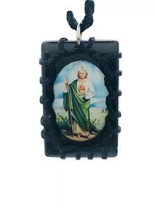 scapular/Necklace Escapulario De San Judas Trenzado Color Negro Rectangular
