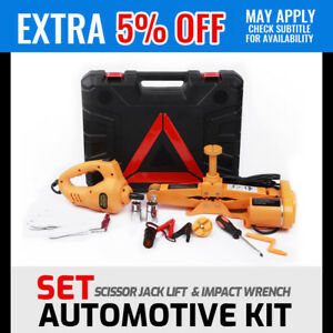 12V Electric Scissor Jack Lift & Impact Wrench 2t SUV Auto Kit Set Repair Tool