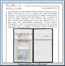 2002 Italia Repubblica Alti Valori € 2,17 Varietà RARO Cert. Diena **