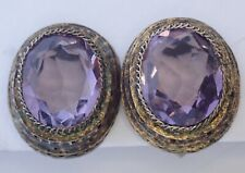 ANTIQUE GOLD GILT SILVER GENUINE AMETHYST EARRINGS