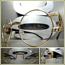 Mens VINTAGE RETRO Style Clear Lens EYE GLASSES Round Gold & Black Fashion Frame