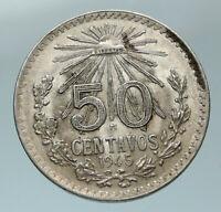 1945 MEXICO City EAGLE CACTUS SERPENT Silver 50 Centavos Mexican Coin i84564