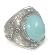 Men Turquoise Ring Southwest Tribal Vintage Sterling Silver Band Size 12.25