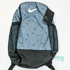 Nike Brazilia 24 L Backpack Laptop School Gym Sports Grey Green Logo BA6041-065