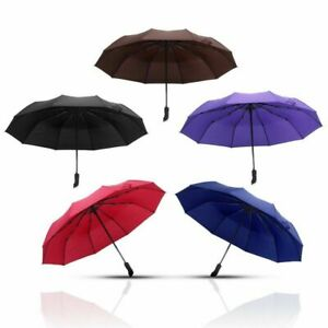Windproof Travel 10 Ribs Strong Automatic Open Close Umbrella Folding Compact
