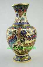 China antique cloisonne enamel dragon phoenix flower vase jardiniere statue d01