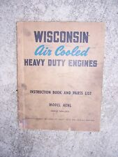 1950s Wisconsin Heavy Duty Single Cylinder Engine Aenl Manual Parts List L