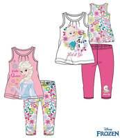 Girls Frozen T-Shirt & Leggings Set Elsa Anna Olaf New Official 100% Cotton