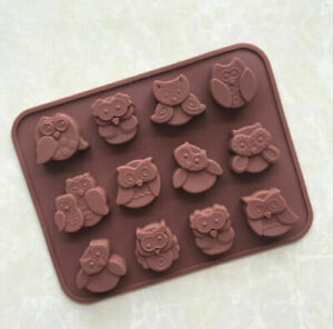 12 Funny Owls Silicone Mould Chocolate Fondant Jelly Ice Cube Mold