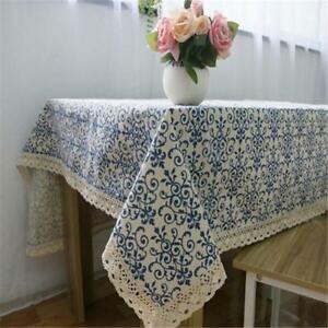 Vintage Blue and White Table Cloth with Lace Cotton Linen Print  Table Decor T