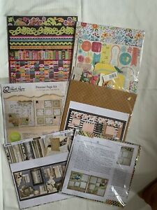Lot Of 6 Scrapbook Kits - Papers Stickers Trims - NEW s.e.i. Quick Quotes + More