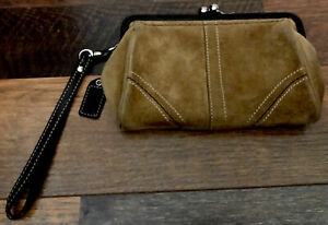 COACH Darker Tan Suede-Brown Frame Wristlet/Clutch-Silver Kisslock-Detach Strap