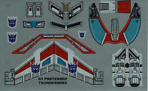 TRANSFORMERS GENERATION 1, G1 DECEPTICON THUNDERWING REPRO LABELS / STICKERS