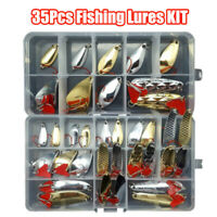 35 PCS Fishing Lures Pike Trout Bass Spoons Spinners Bait Metal Tackle New