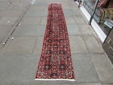 Vintage Traditional Hand Made Oriental Red Pink Wool Long Narrow Runner 391x61cm