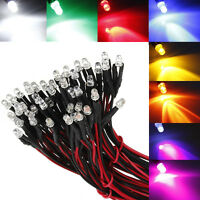10pcs 3mm 20CM 12V DC Round/Flat Pre-Wired Prewired Water Clear Bright LED Light