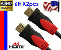 2x 6FT 4K Ultra Hi-End v1.4 HDMI Cable Audio Ethernet 3D HDTV 1080p DVD Full HD