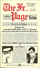 The Front Page by Ira Wallach Billy Wilder Movie Tie-In 1st Printing Jack Lemmon