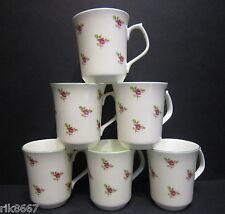 Set of 6 Dot Rose Emerald shape English Fine Bone China Mug cups By Milton China