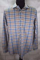 David Donahue Mens Button Front Shirt Blue Brown Plaid Spread Collar Fitted Sz L