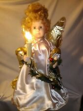 """Santa's Best Lighted Angel Motionette 22"""" w Gold Faux Fur Wings Christmas Decor"""
