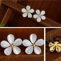 Dazzling Women Silver Plated Flower Crystal Rhinestone Ear Stud Earrings Jewelry
