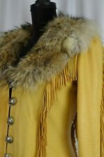 Burray Olson Women's Leather Coat Size 8 Fur Trim Collar Fringes Brown Western
