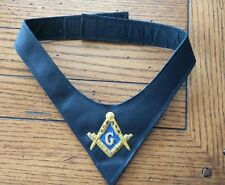 Masonic Lodge Black Cravat with Gold and Blue Embroidery Square & Compass
