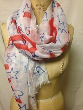 "Collection18 Wish Upon a Star Scarf  78"" x 29""  Red/White/Blue  New with Defects"