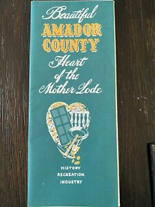 Vintage Amador County California Mother Lode Folding Map Travel Brochure Guide