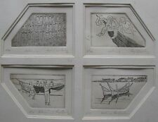 "RAJA AZHAR IDRIS MALAYSIAN FOUR ETCHINGS ""FISHING QUARTET"" 1984"