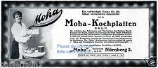 Moha Kochplatten GmbH Nürnberg Reklame von 1917 Asbest Hausfrau kochen Herd ad