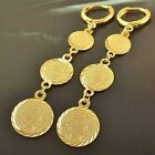 Vintage Korean Yellow Gold Plated Womens 3-Coin Round Dangle Clip On Earrings