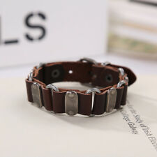 Punk Unisex Men's Stainless Steel Genuine Leather Bracelet Cuff Wristband Bangle