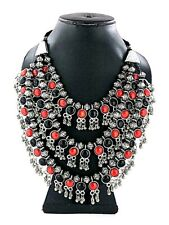 Bollywood Antique Traditional Silver Plated Red Black Oxidized 3 Line Necklace