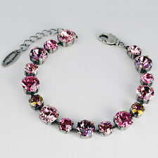 Pulsera plata tenis 16 Swarovski cristales multicolor Rose rosa púrpura