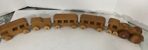 Handcarved Block Style Wooden Train Set 5 with Engine, Train Cars, And Caboose