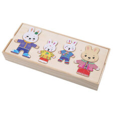 Montessori Kids Wooden Rabbit Puzzles Educational Dress Changing Toys Z