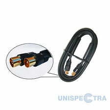 1.5m TV AERIAL RF GOLD PLATED COAXIAL Male to Female Socket  Fly Lead Coax Cable