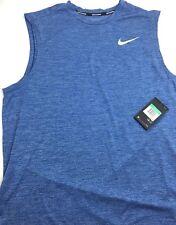 Nike Mens Running Tank Breathe Aj4530-443 Size Medium Blue