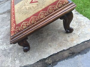 Rare Antique long 100cm sloping fireside footstool c1850 cabriole legs tapestry