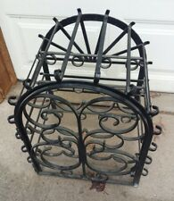 VTG Wrought Iron Wine Rack Black Metal Victorian 12 Bottle Hinged Door Goth Cage