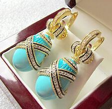 OUTSTANDING EARRINGS SOLID STERLING SILVER 925 AND 24K GOLD GENUINE TURQUOISE