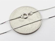 """14K 18"""" Solid White Gold Thin Dainty Classic BOX Necklace Chain .5mm 14K Gold"""