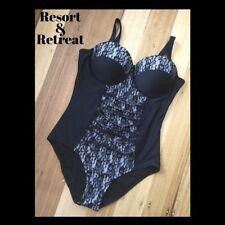 Ladies One Piece Swimwear, Size 20 E, Black Lace Design, Underwire,