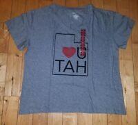 NEW Women's Grey STATE OF MINE V-Neck Utah T-Shirt Size XL X-LARGE