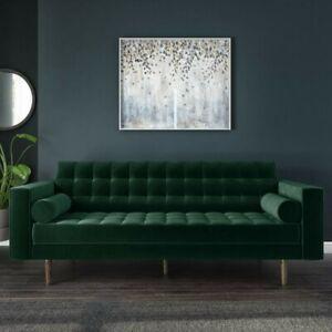Velvet Green 3 Seater Sofa -Elba SOF040 - Gently Used