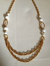 "Vintage GoldTone & White Beads Necklace / Belt 35"" (170)"