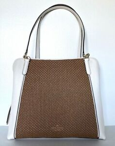 New Kate Spade Jackson Triple compartment Shoulder bag Leather Straw